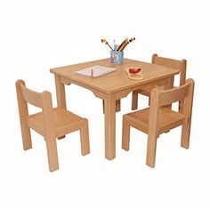 Childrens Furniture Solid Beech Wood Childrenu0027s One Table With Three Chairs  No Arm Rest Natural Varnish