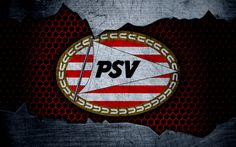 Download wallpapers PSV, 4k, logo, Eredivisie, soccer, football club, Netherlands, PSV Eindhoven, grunge, metal texture, PSV FC