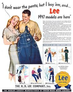 Lee work clothes. 1947