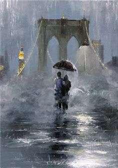 by Victor Bauer - Brooklyn Bridge painting Walking In The Rain, Singing In The Rain, Rainy Night, Rainy Days, Arte Black, Bridge Painting, I Love Rain, Rain Art, Umbrella Art