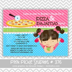 Pizza & Pajamas Girl Personalized Party Invitation-personalized invitation, photo card, photo invitation, digital, party invitation, birthday, shower, announcement, printable, print, diy,cook, cooking, pizzeria, sleepover, sleep over, slumber party, pj's
