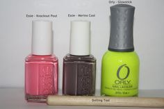 Step 1: After applying a base coat, paint nails 2 coats of Essie – Knockout Pout. This shade is a true girlie pink & is a little on the bright/almost neon side. This would be a perfect shade of any of you who are too scared to jump into a neon polish. It applied evenly with only 2 coats.