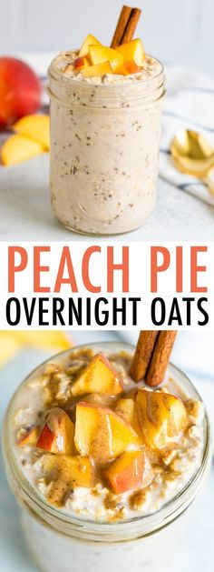 These peach overnight oats taste like peach pie! Loaded with fresh, juicy peaches and warm spices, this combo is packed with flavor and nutrition. #peachpie #peach #oatmeal #overnightoats #mealprep #glutenfree #healthybreakfast #eatingbirdfood Tasty Vegetarian Recipes, Good Healthy Recipes, Easy Dinner Recipes, Real Food Recipes, Cooking Recipes, Yummy Food, Veg Recipes, Healthy Foods, Healthy Eating