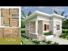 Small House Design Plans with 2 Bedrooms Full Plans - House Plans Sam 2 Bedroom House Plans, Coastal House Plans, Simple House Plans, Beach House Plans, Simple House Design, Shop House Plans, Tiny House Design, House 2, Full House