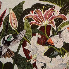 Hummingbird and Lilies Needlepoint from DJ Designs. A work of art and would make an heirloom piece when stitched.