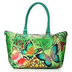 Anuschka Hand-Painted Leather Double Handle Tote Bag w/ Adjustable Strap (Want)