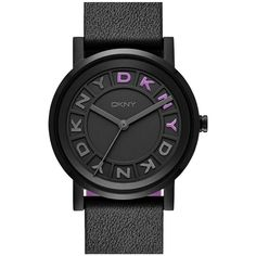 DKNY 'Soho' Leather Strap Watch, 34mm ($135) ❤ liked on Polyvore featuring jewelry, watches, leather-strap watches, dkny, letter jewelry, dkny watches and dial watches