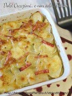 millefoglie di patate e zucchine con prosciutto cotto e mozzarella