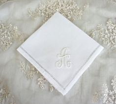 Monogrammed Handkerchief, Linen Handkerchief,  Bridal Handkerchief, Wedding Handkerchief, Bridal Party Gifts & Favors - FIND MORE HOME & BRIDAL LINENS BY CLICKING THE PHOTO ABOVE!