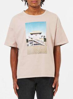 Pink Beach Hut Print Boxy Kimono Fit T-Shirt - Men's T-Shirts & Vests - Clothing - TOPMAN EUROPE