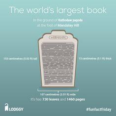 Do you know about Kuthodaw Pagoda? #funfactfriday #lodggy #mandalay #biggestbook #myanmar #pagoda