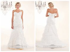 Strapless Sweetheart Wedding Dresses with Pleated Bodice and Layered Skirt