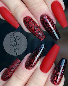 40 Fabulous Ways to Wear Glitter Nails, Looks a Cute Women Part glitter nails; glitter nails ombre Nails 40 Fabulous Ways to Wear Glitter Nails, Looks a Cute Women - Page 18 of 40 Stylish Nails, Trendy Nails, Cute Nails, Red Acrylic Nails, Gel Nails, Nail Polish, Red Glitter Nails, Red Ombre Nails, Manicure