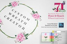 Custom Wreath Creator With Flowers by Emine Gayiran on Creative Market