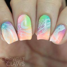 Girls Nail Designs, Diy Nail Designs, Rainbow Nail Art Designs, Bright Nail Designs, Creative Nail Designs, Cute Acrylic Nails, Cute Nails, Pretty Nails, Nails For Kids