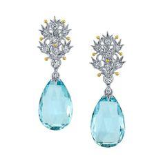 Aquamarine and Diamond Dangle Earrings