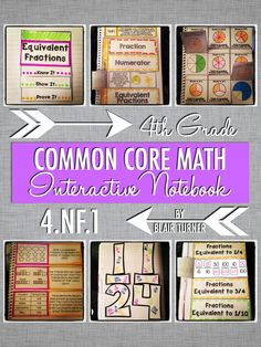 Interactive Notebook Activities - Equivalent Fractions {4.NF.1}....make fractions fun with these flippable, foldable activities for interactive notebooks! $