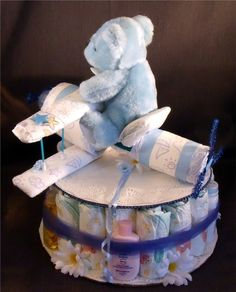 Diaper Cakes For Boys  Blue AIRPLANE Baby Shower Gift Boy Cake cakepins.com