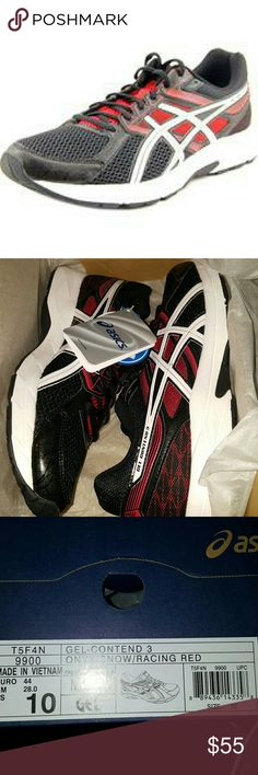 "Asics Men's Gel-Contend 3 Onyx/Snow/Racing Res Asics  Gel-Contend 3     Onyx/Snow/Racing Red      Width D(M)     Mesh Upper Material     Rubber Outsole Material     1.25"" Heel Height Asics Shoes Athletic Shoes"