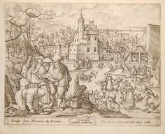The Seasons - Winter After: Hans Bol c1570 British Museum Winter scene with men putting ice skates on at left, people skating on frozen river at centre, some falling and one man struggling to come out of broken ice, peasants seen drinking inside a tavern at right, view of a town in the background; first state before number;