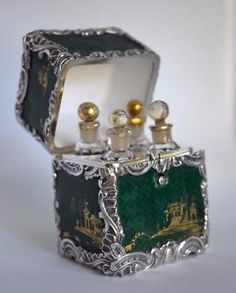 Fine-Antique-Enamel-Chinese-Chinoiserie-Sterling-Silver-Perfume-Bottle-ETUI-Box