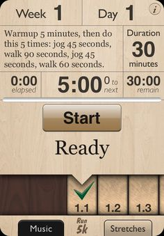 Couch to 5K app for iPhone.... gives you voice prompts when to start walking/running!  @Katie Emond would love this.