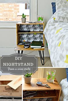 DIY Nightstand - Upcycle a wine crate into a fabulous bedside table with shelves and hairpin legs. Full tutorial.