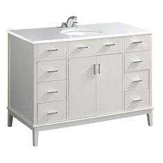 Simpli Home Urban Loft White Undermount Single Sink Bathroom Vanity with Engineered Stone Top (Common: 48-in x 21.5-in; Actual: 49-in x 21.5-in)