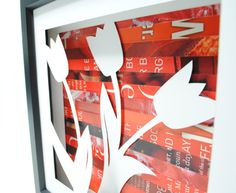 spring tulip shadowbox- made from recycled magazines