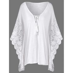 Plus Size Butterfly Sleeve Crochet Trim Blouse Lace Tops - 3XL WHITE
