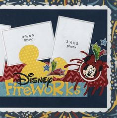 Disney offers year-round sensational fireworks spectaculars! Scrap several of your amazing sparkle photos with these two fun pages. Embellishments include: enamel dots, an entire pack of foil stickers                                                                                                                                                                                 More