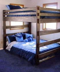 Queen Bunk Beds - bed rails are 2 x 8's with five 2 x 4's on edge supporting the bunk boards