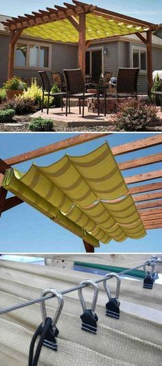 #3. Add shade and style to outdoor living space with a slide-on wire-hung canopy.