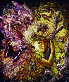 A richly coloured picture of a fairy with butterfly and moths in the branches of the great tree.