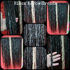 #blackarrowdreads black and grey with a few blonde dreads made here at black arrow dreads. 21 inch light thin natural style dreads.