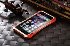 R-JUST Amira Tempered Glass Front Panel Aluminum Metal Bumper TPU Inner Layer Carbon Fiber Back Cover Shockproof Dustproof Protective Case for Apple iPhone 6S/ iPhone 6S Plus/ iPhone 6/ iPhone 6 Plus/ iPhone 5S/5