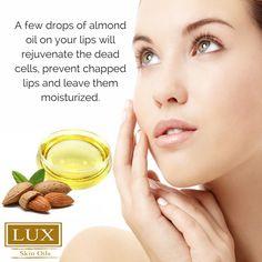 is a great lip Prevent cracks bu just a few drops. Lux Skins, Lip Moisturizer, Oils For Skin, Sweet Almond Oil, Castor Oil, Hair Oil, Jojoba Oil, Coconut Oil, Natural Beauty