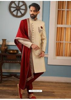 Light Beige Readymade Heavy Embroidered Indowestern Sherwani For Men Wedding Dresses Men Indian, Wedding Outfits For Groom, Wedding Dress Men, Wedding Groom, Wedding Couples, Farm Wedding, Boho Wedding, Wedding Reception, Wedding Ideas