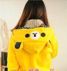 Animal Hoodies Lolita Cute Honey Rilakkuma hoodie Zipper Anime Sweatshirt Sweater Winter Coat for Women Discount Cheap Hot