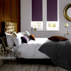 Banlight Mulberry Roller Blinds from Style Studio. Ultra violet. Pantone colour of the year 2018. Purple blinds. Bedroom blinds. Modern purple home decor inspiration.