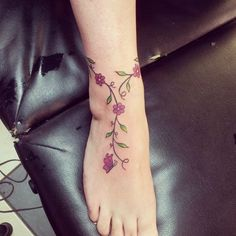 30 Simple And Sexy Ankle Tattoo Designs You Have To Try - Page 17 of 30 - Ankle. - 30 Simple And Sexy Ankle Tattoo Designs You Have To Try – Page 17 of 30 – Ankle Tattoos Ideas f - Flower Tattoo On Ankle, Ankle Tattoo Small, Flower Foot Tattoos, Vine Foot Tattoos, Butterfly Ankle Tattoos, Rose Vine Tattoos, Floral Foot Tattoo, Tribal Foot Tattoos, Tattoos For Women Flowers