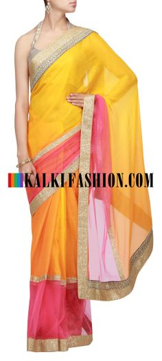 Buy Online from the link below. We ship worldwide (Free Shipping over US$100) http://www.kalkifashion.com/orange-saree-with-pink-net.html Orange saree with pink net