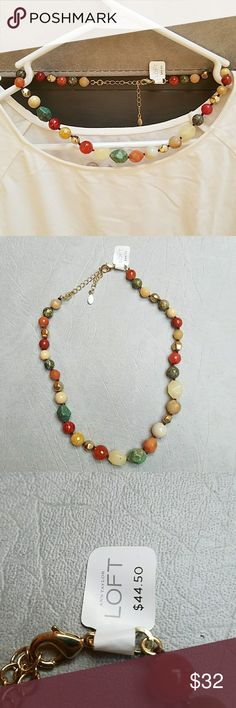 Loft Necklace Bead necklace. Green, cream, terra cotta and gold LOFT Jewelry Necklaces