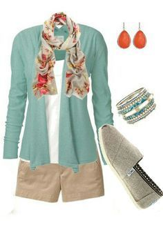 I'd probably go more pink or coral than orange but a perfect spring outfit. I need to go sandal shopping! Cute Summer Outfits, Spring Outfits, Casual Outfits, Cute Outfits, Summer Clothes, Summer Shorts, Mode Chic, Mode Style, Look Fashion