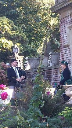 Kevin and Kathryn, Bagpipes and drums. Playing my wedding march Highland Cathedral! My wedding at Thornewood Castle 10-3-14