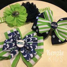 Seattle Seahawk barrettes, bows and headband by Kenzie Kids Boutique (Hawks, seahawks, football)