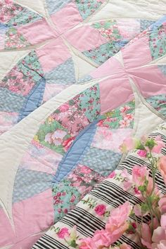 beautiful quilt  pastels  shabby chic