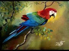 Resultado de imagem para pintura em tela arara vermelha