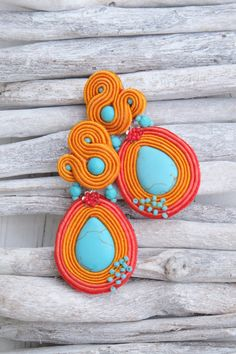 Turquoise Orange Clip-ON Soutache by MalisaJewellery on Etsy