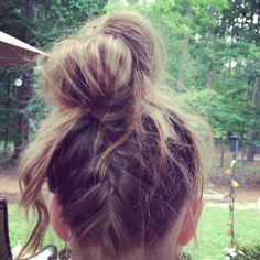 Just a French braid, a bun, and crimp the ends